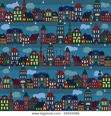 Seamless pattern with multi-colored houses in the night city