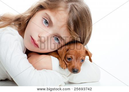 brunette kid girl with mini pincher pet mascot dog on white background