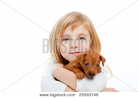 Blond children girl with dog puppy mascot mini pincher on white background