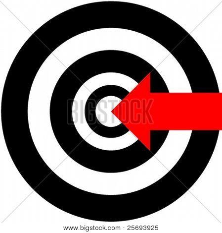A red arrow hitting on bullseye