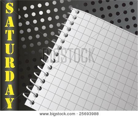 Vector organizer note book for saturday