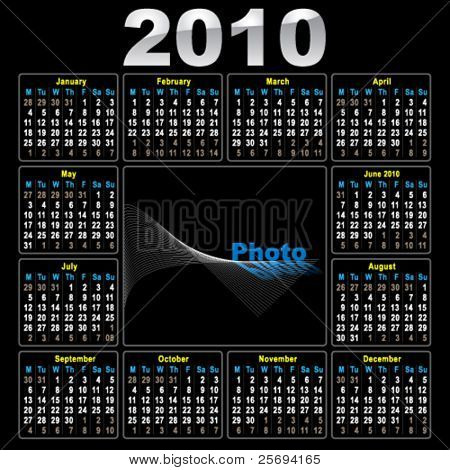 Vector illustration of the calendar 2010