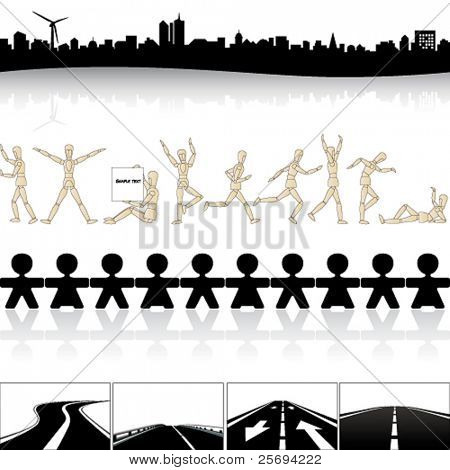 Vector illustration of a collection from skyline to auto-route