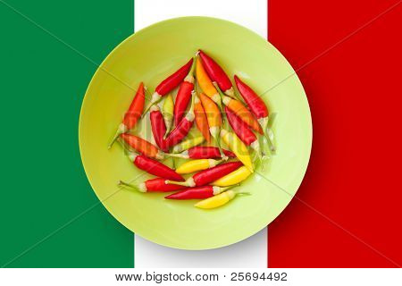 colorful chili peppers plate with Mexico flag in background [ photo-illustration]