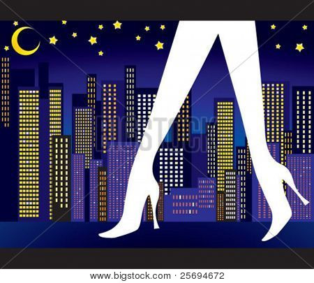 Sexy legs with night city