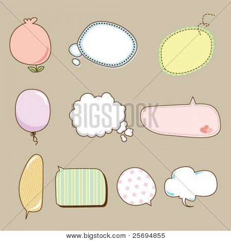 Cute speech bubbles vector
