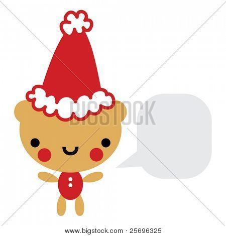 cute Christmas bear with talk bubble