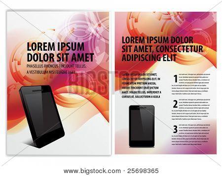 vector business brochure, smartphone booklet template