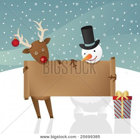 Christmas illustration.Reindeer and snowman holdind banner