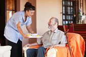 stock photo of elderly  - elderly and nurse or carer - JPG