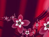 Fractal Image With Fantasy Flowers. Template With Place For Inserting Your Text. Fractal Art As Red  poster