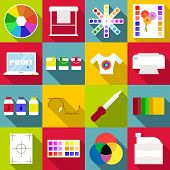 Print Items Icons Set. Flat Illustration Of 16 Print Items Icons For Web poster