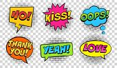Retro Comic Speech Bubbles Set On Transparent Background. Expression Text No, Kiss, Oops, Yeah, Love poster