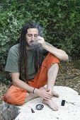 foto of rastafari  - hippy preparing - JPG