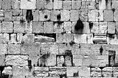 stock photo of tora  - black and white cut out of the wailing western wall - JPG