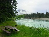 Desolate Peaceful Campground On The Fraser River Near Mount Robson In Beautiful British Columbia, Ca poster