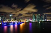 Miami City Skyline Panorama At Dusk With Urban Skyscrapers And Bridge Over Sea With Reflection poster