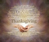 Word Cloud For The Thanksgiving Holiday - Female Hands Gently Cupped Surrounded By A Thanksgiving Wo poster
