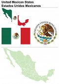 Mexico collection including flag, map (administrative division), symbol & coat of arms