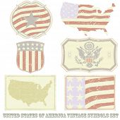 United States of America vintage symbol set.All elements (including grunge) easy editable and remova