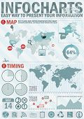 Infochart creative pack. Easy assembling elements for presentation and graph. Including world map, t poster
