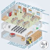 Isometric 3 level office. Each level on a separate layer. Full pack of furniture including accessori
