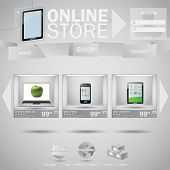 Online store web template concept with boxes