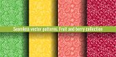 Seamless Pattern Set. Juicy Fruit And Berry Collection. Banana, Grape, Cherry, Watermelon. Hand Draw poster