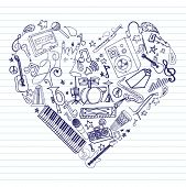pic of drum-kit  - Variety of hand drawn music doodles in heart shape on lined paper - JPG