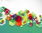 image of hexagon  - Colorful hexagon background - JPG