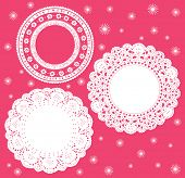Set for round lace doily. Vector illustration. Background for celebrations, holidays, sewing, arts,