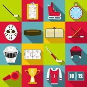 Hockey Items Icons Set. Flat Illustration Of 16 Hockey Items Icons For Web poster