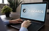 Standards Compliant Check, Quality Assurance And Control. Business And Technology Concept. poster