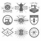 Tailor Shop Set Of Monochrome Vector Labels, Badges, Emblems And Logos Isolated On White Background, poster