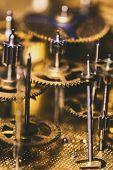 Details Of A Mechanical Clockwork Or Movement Of A Watch, Brassy Components poster