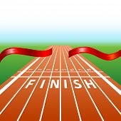 illustration of ribbon in finishing line with racing track