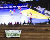 Euro Money On The Background Of The Tv On Which Show Volleyball, Sports Betting, Bookmaker, Euro poster