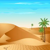 stock photo of saharan  - illustration of desert with palm tree in day light - JPG