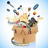 foto of movie theater  - illustration of entertainment and cinema object popping out of carton box - JPG