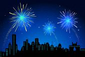 picture of firework display  - illustration of view of firework in sky on city scape - JPG