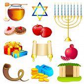 illustration of set of element for hanukkah and chanukah