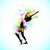 Постер, плакат: Иллюстрация женские танцы на абстрактный фон цветочные шероховатый