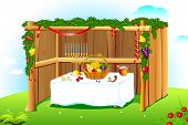 picture of sukkot  - illustration of sukkah decorated with leaves and fruit for sukkot - JPG