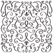 Decorative Swirls. Swirled Vintage Ornament, Swirling Border And Simple Frame. Swirl Decoration Bord poster