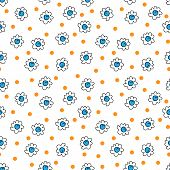 Simple Seamless Vector Background Chamomile Drawing, Blue And Orange Flowers Simple, Easy Simple Dra poster