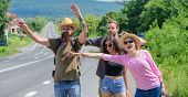 Friends Looking For Transportation. Friends Hitchhikers Travelling Sunny Day. Begin Great Adventure  poster