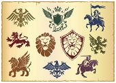 picture of winged-horse  - Heraldic vector set with lion - JPG