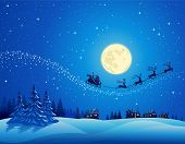 stock photo of santa sleigh  - Santa Into the Winter Christmas Night - JPG