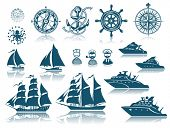 stock photo of ship steering wheel  - Compass and Sailing ships icon set - JPG