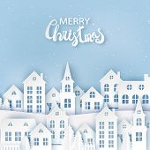 Winter Urban Countryside Landscape, Village With Cute Paper Houses, Pine Trees And Snow. Merry Chris poster